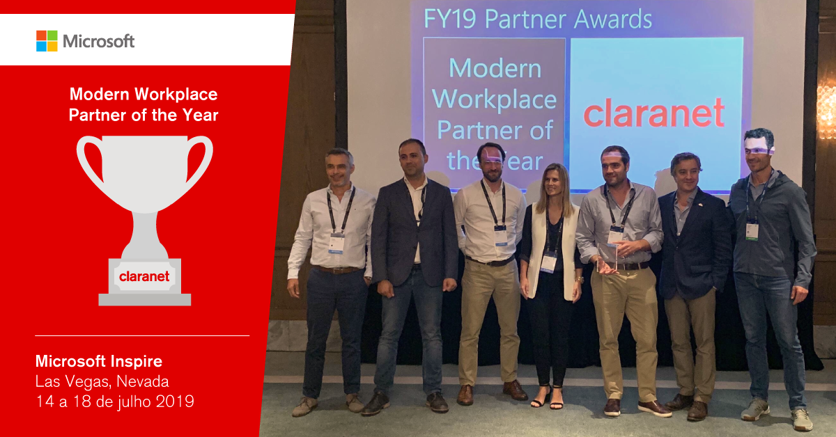 Claranet vence Microsoft Modern Workplace Partner of the Year 2019